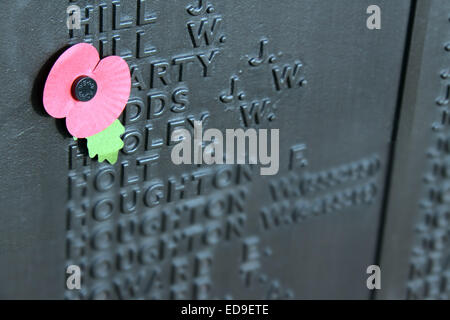 Remembrance day Single Poppy Warrington Cenotaph Nov 2014, Bridgefoot, Wilderspool Causeway, Cheshire, England, - Stock Photo