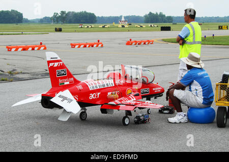 Model Jet Airplane, Radio Controlled. Being fueled and charged. Barnstorming Carnival, Springfield Beckley Airport., - Stock Photo