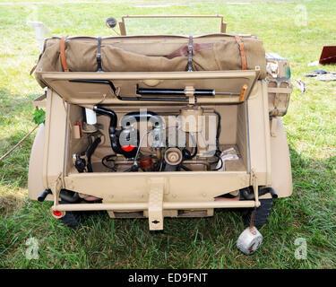 Engine view of World War II era German light utility vehicle - Stock Photo