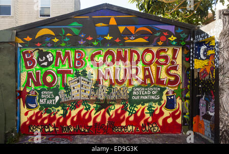 murals in the mission district of San Francisco CA - Stock Photo