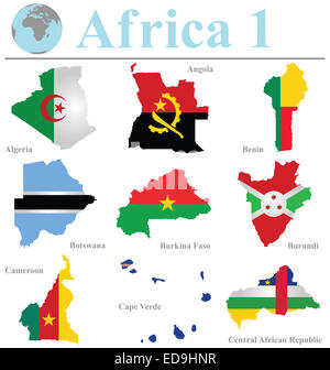 Flags of Africa collection 1 overlaid on outline map isolated on white background - Stock Photo