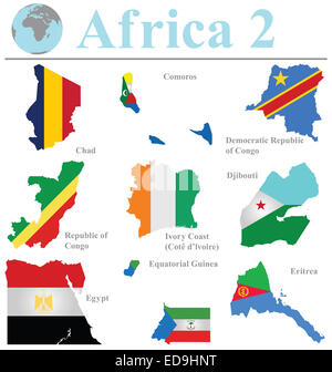 Flags of Africa collection 2 overlaid on outline map isolated on white background - Stock Photo