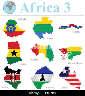 Flags of Africa collection 3 overlaid on outline map isolated on white background - Stock Photo