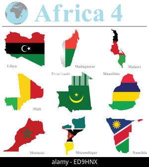 Flags of Africa collection 4 overlaid on outline map isolated on white background - Stock Photo