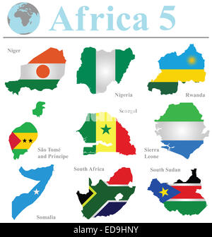 Flags of Africa collection 5 overlaid on outline map isolated on white background - Stock Photo