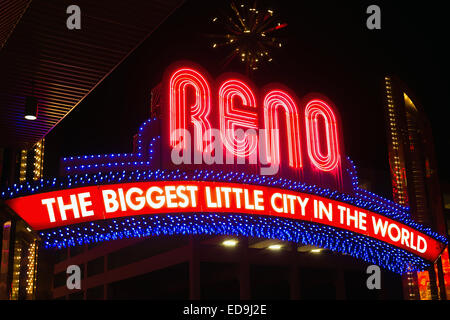 Night time on the strip in Reno - Stock Photo