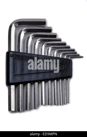 Hex wrench key set in chrome finish, in a holder. - Stock Photo