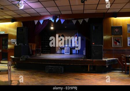 earl haig hall london n8 trendy bar cafe hipsters crouch end ex-british legion social club pub stage union flag - Stock Photo