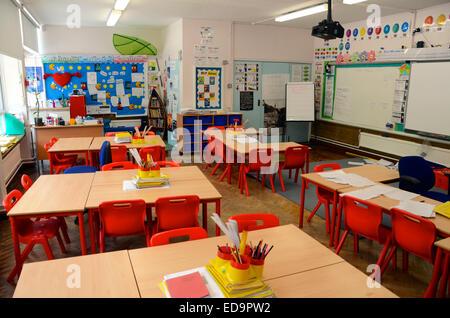 british junior school class room in inner london tottenham - Stock Photo