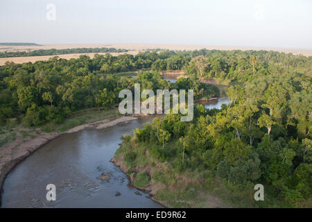 Aerial view of the Mara River - Stock Photo
