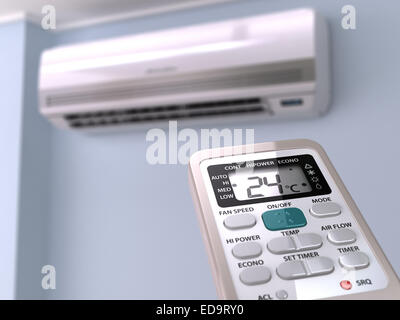Remote control directed on air conditioner systrem. 3d - Stock Photo