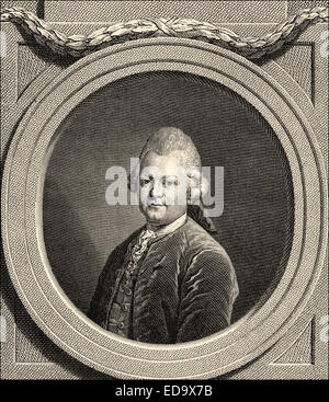 Gotthold Ephraim Lessing, 1729 - 1781, a poet of the German Enlightenment, Portrait von Gotthold Ephraim Lessing - Stock Photo