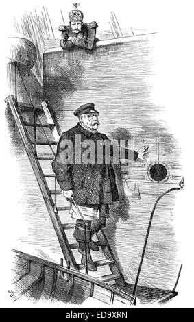 1890 Punch cartoon commenting on Otto von Bismarck, caricature by Sir John Tenniel, Dropping the Pilot, - Stock Photo