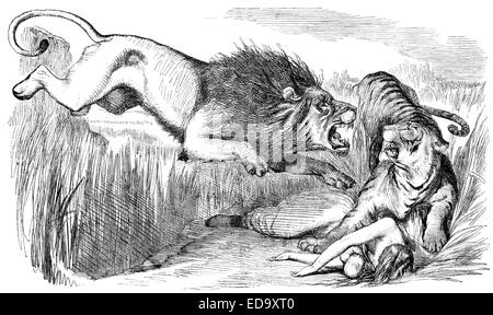 "1857 Punch cartoon ""The British Lion's Vengeance on the Bengal Tiger"" commenting The Siege of Cawnpore by  Sir John - Stock Photo"