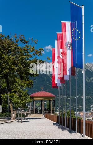 Austrian flags of various provinces with EU flag at Bergisel on the outskirts of Innsbruck principal city of the - Stock Photo