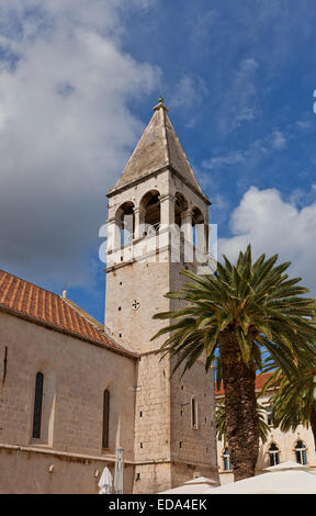 Belfry of Ascension of our Lord Jesus Christ church (circa 1451) in Trogir, Croatia. UNESCO site - Stock Photo