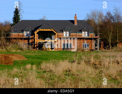 Luxury Detached House Under Construction, Hinksford, Staffordshire, England, UK - Stock Photo
