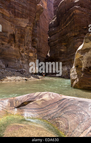 The Mujib Reserve of Wadi Mujib is the lowest nature reserve in the world, located in the mountainous landscape - Stock Photo