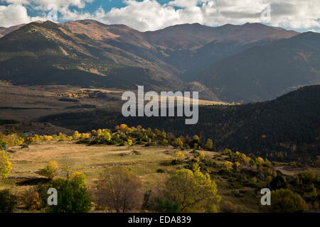 View of the Catalan Pyrenees in autumn, from below Font-Romeu. France. - Stock Photo