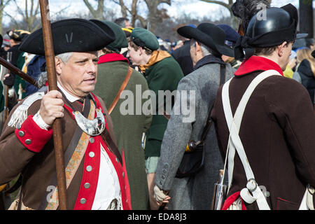 Reenactors at the annual General George Washington crossing the Delaware River from Pennsylvania into New Jersey on Christmas Da