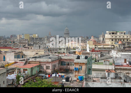Overlooking old Havana on a cloudy day - Stock Photo