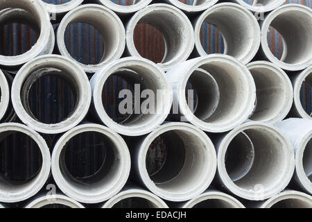 concrete pipe for use in construction, housing and heavy industry - Stock Photo