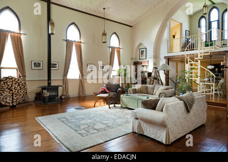 Living Room Of Converted Church Stock Photo Royalty Free Image 77061437 A
