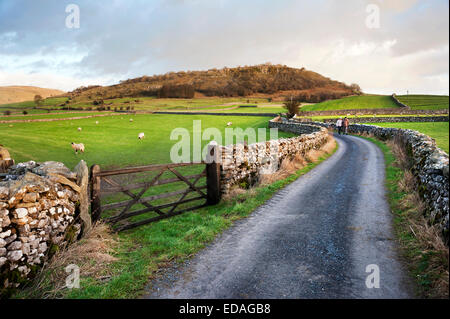 A couple walking in the country near Austwick, Yorkshire Dales, UK - Stock Photo