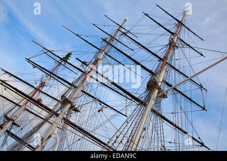 Masts of the old sailing ship - Stock Photo