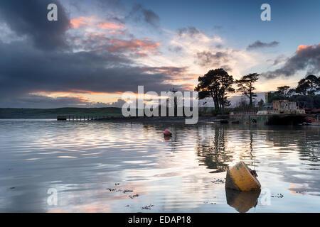 The River Tamar at St John's Lake at Torpoint in Cornwall - Stock Photo