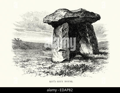 Kit's Coty House or Kit's Coty is the name of the remains of a Neolithic chambered long barrow on Blue Bell Hill - Stock Photo