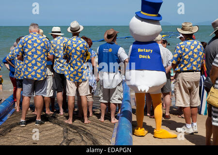 Rotary club is promoting for the duck race in Palm Cove Australia - Stock Photo