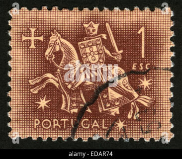 Portugal - Knight on horseback (from the seal of King Dinis), 1956-12 - Stock Photo
