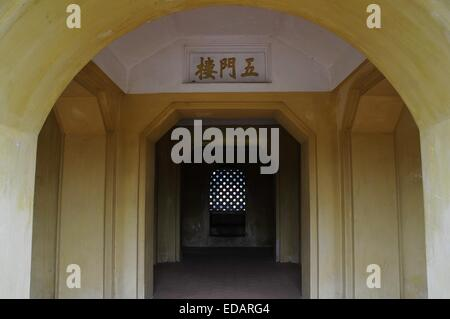 Hanoi. 4th Jan, 2015. Photo taken on Jan. 4, 2015 shows an entrance of the Thang Long Imperial Citadel in Hanoi, - Stock Photo
