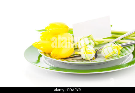 Happy Easter, easter table place setting, with sample greeting or copy space for your text here. - Stock Photo