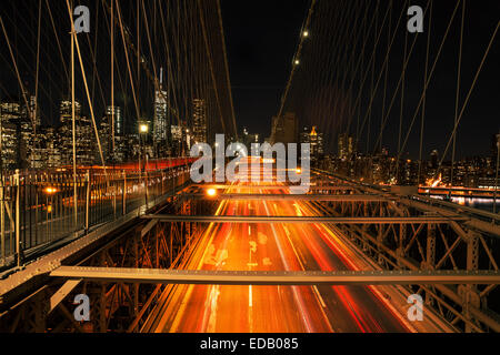 Traffic on the Brooklyn Bridge, New York City - Stock Photo