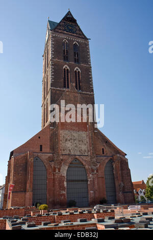 Europe, Germany, Mecklenburg-Western Pomerania,Wismar,Marienkirche, St. Mary's Church Tower - Stock Photo