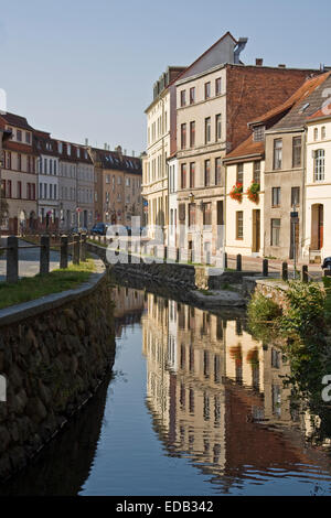 Europe, Germany, Mecklenburg-Western Pomerania, Wismar, Historic Houses Frische Grube in the Hanseatic city of Wismar, - Stock Photo