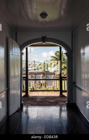 Corridor in Officers Quarters, Nelson's Dockyard, English Harbor, Antigua - Stock Photo