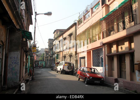 Empty street in in Kolkata, West Bengal, India on November 26, 2012. - Stock Photo