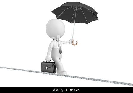 Dude the business man walking on a wire. Isolated. - Stock Photo