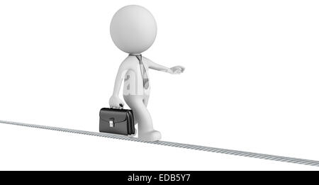 The Dude walking on a wire. Isolated. - Stock Photo