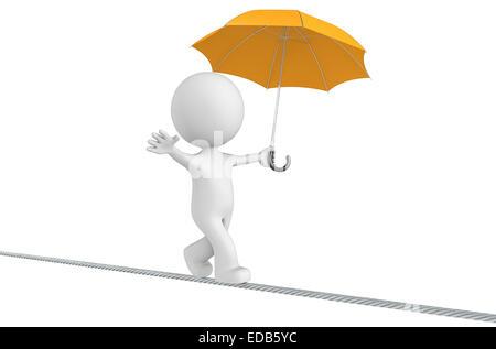 The Dude walking on a rope holding orange umbrella. Isolated. - Stock Photo