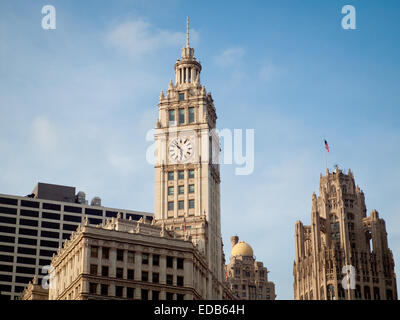 A view of the Wrigley Building (left),  InterContinental Chicago [South Tower] (center), and Tribune Tower (right) - Stock Photo