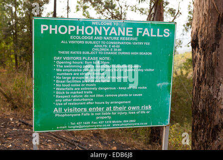 SWAZILAND, AFRICA - Sign at entrance to Phophonyane Falls Nature Reserve. - Stock Photo
