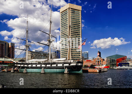 Low Angle View of the USS Constellation Historic Warship, Inner Harbor, Baltimore, Maryland - Stock Photo