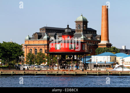 View of the Seven Foot Knoll Lighthouse , Inner Harbor, Baltimore, Maryland - Stock Photo