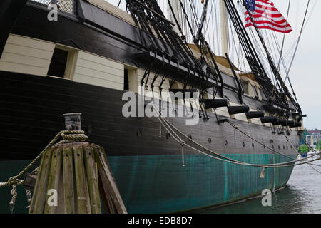 Port Side Close Up View of the USS Constellation Warship, Baltimore Harbor, Maryland - Stock Photo