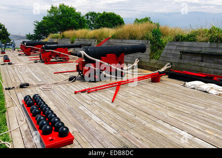 Row of Cannons on a Battery Ramp, Fort McHenry, Baltimore, Maryland - Stock Photo