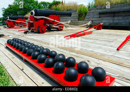 Low Angle View of 19th Century Cannons on a Battery Ramp, Fort McHenry, Baltimore, Maryland - Stock Photo